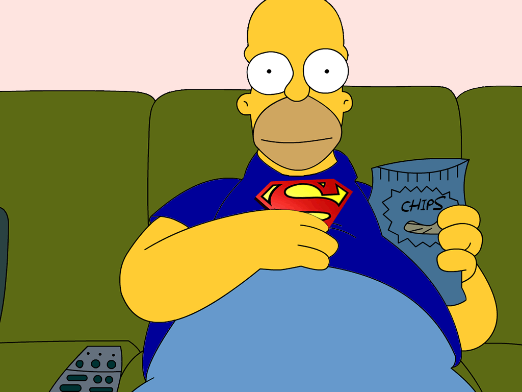 Homer Simpson wearing Superman t-shirt on the couch
